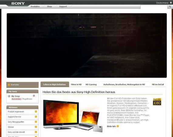 HDTV, HighDefinition-Produkte HD ready - Sony