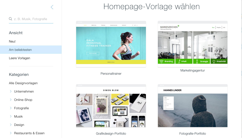 Homepage Baukasten Vorlagen
